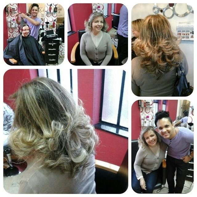 CORTE DEGRADÊ E ESCOVA cabeleireiro(a) designer de sobrancelhas maquiador(a) escovista
