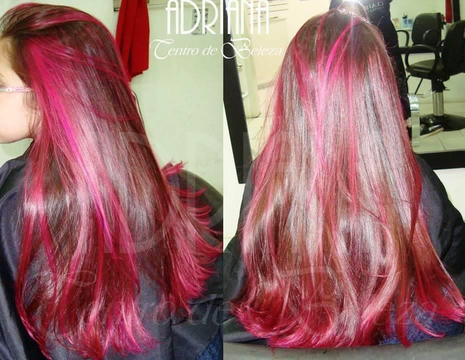 mechas vermelhas cabelo  cabeleireiro(a)