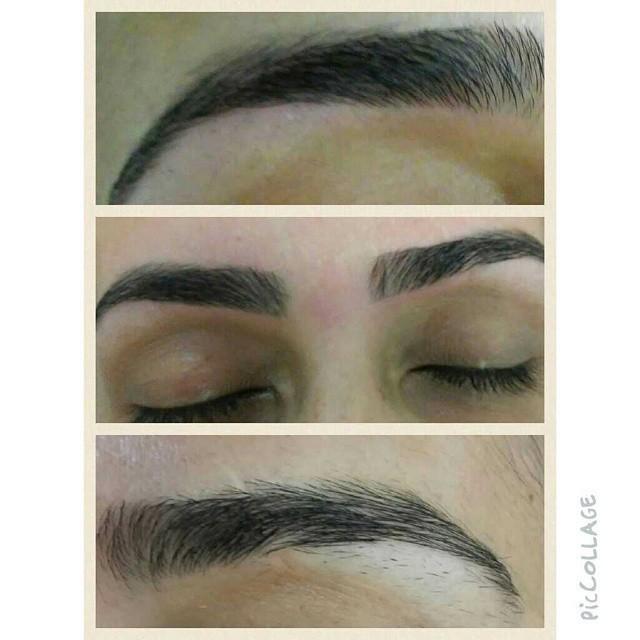 Começo com corte depois tiro com pinça e finalizo com linha designer de sobrancelhas maquiador(a)