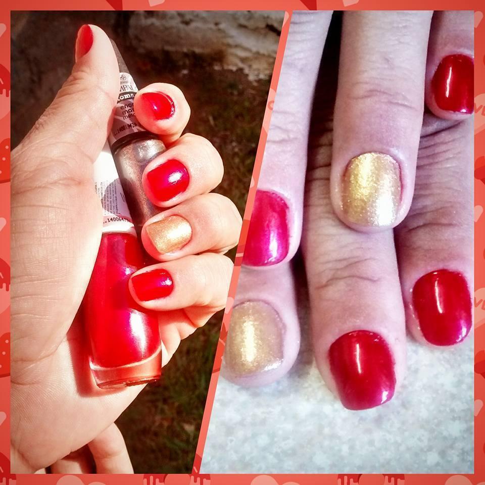 vermelho com dourado  unhas  manicure e pedicure designer de sobrancelhas
