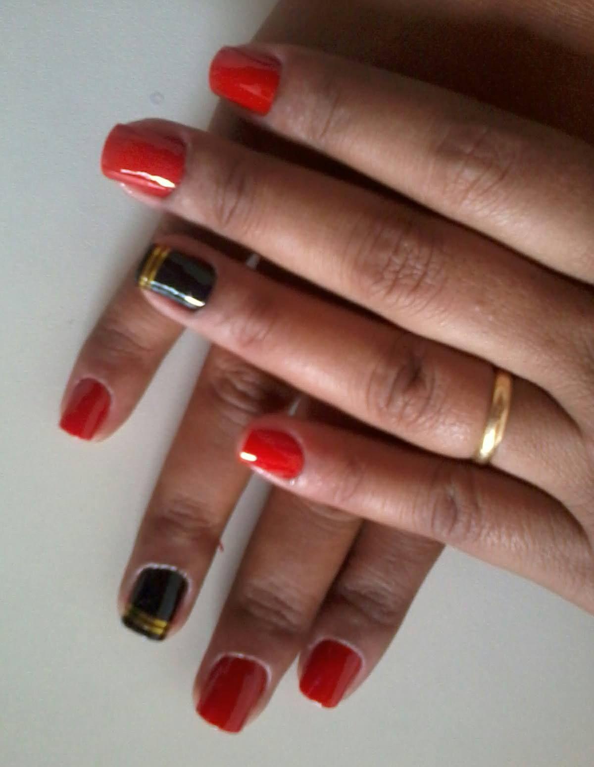 laranja e preto  unhas  manicure e pedicure