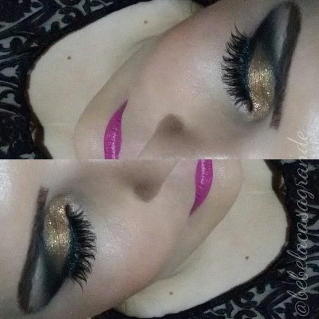 dourado com batom rosa  maquiagem  maquiador(a) fisioterapeuta