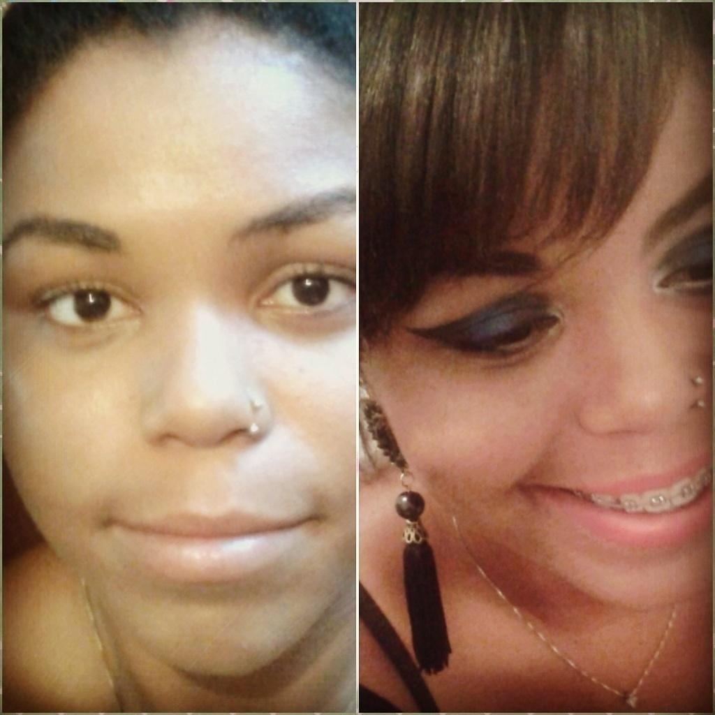 antes e depois da Ana Make alegre, com cores fortes ótimo para baladas e barzinhos noturnos assistente maquiador(a) maquiador(a)