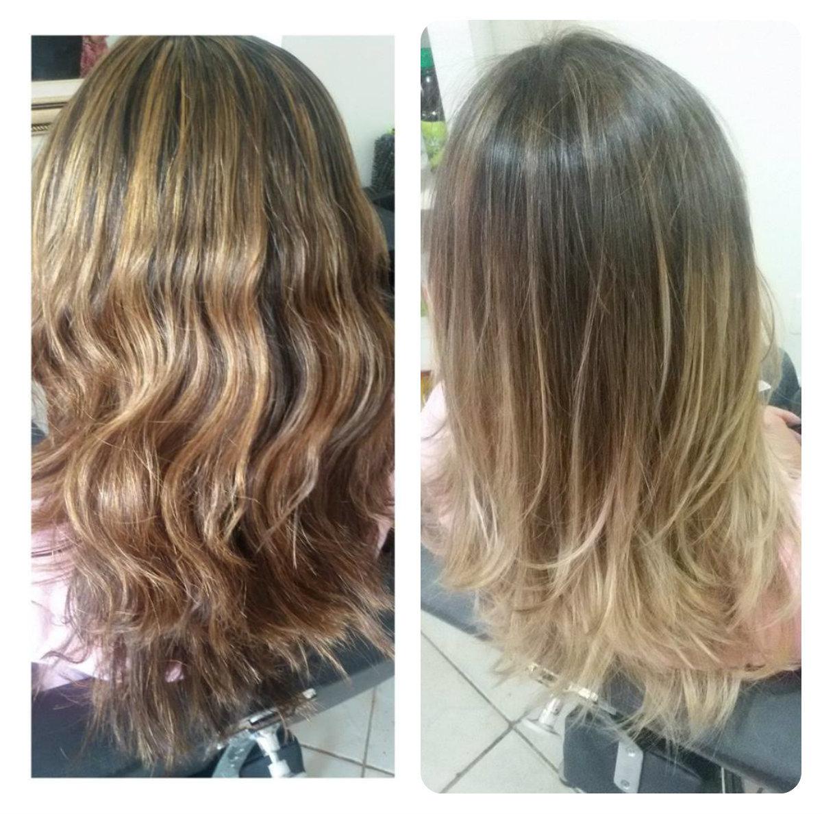 correção para ombré hair o cabelo teve a raiz apagada com tonalizante 5.1 , depois foi feito o trabalho de ombré hair  de mechas desfiadas. cabelo maquiador(a) cabeleireiro(a) designer de sobrancelhas auxiliar cabeleireiro(a)