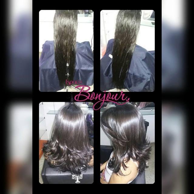 corte de cabelo corte em camadas desfiadas com franja desfiada lateral e degradê desfiado na frente do cabelo. maquiador(a) cabeleireiro(a) designer de sobrancelhas auxiliar cabeleireiro(a)