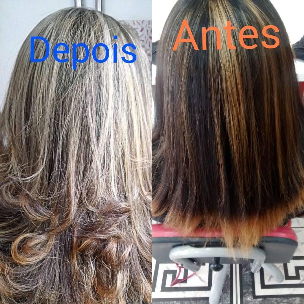 Luzes marcantes! Um cabelo com mechas super grossas e nada naturais, foi-se puxado novas mechas mais claras e menos marcantes, dando mais leveza e naturalidade na cor, com tom Pérola acinzentada! cabeleireiro(a)