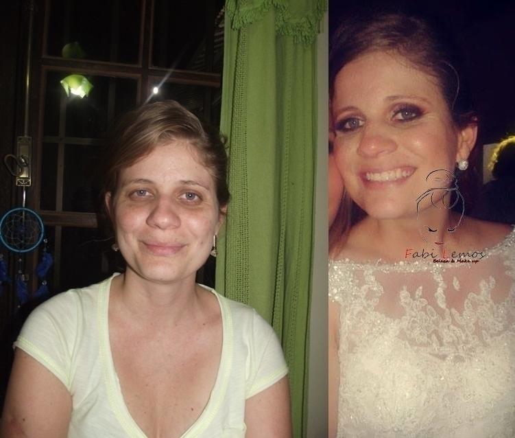Antes e depois da noiva Bárbara maquiador(a) docente / professor(a) designer de sobrancelhas manicure e pedicure esteticista