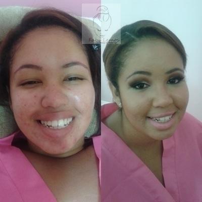 Antes de depois noiva Tainá maquiador(a) docente / professor(a) designer de sobrancelhas manicure e pedicure esteticista