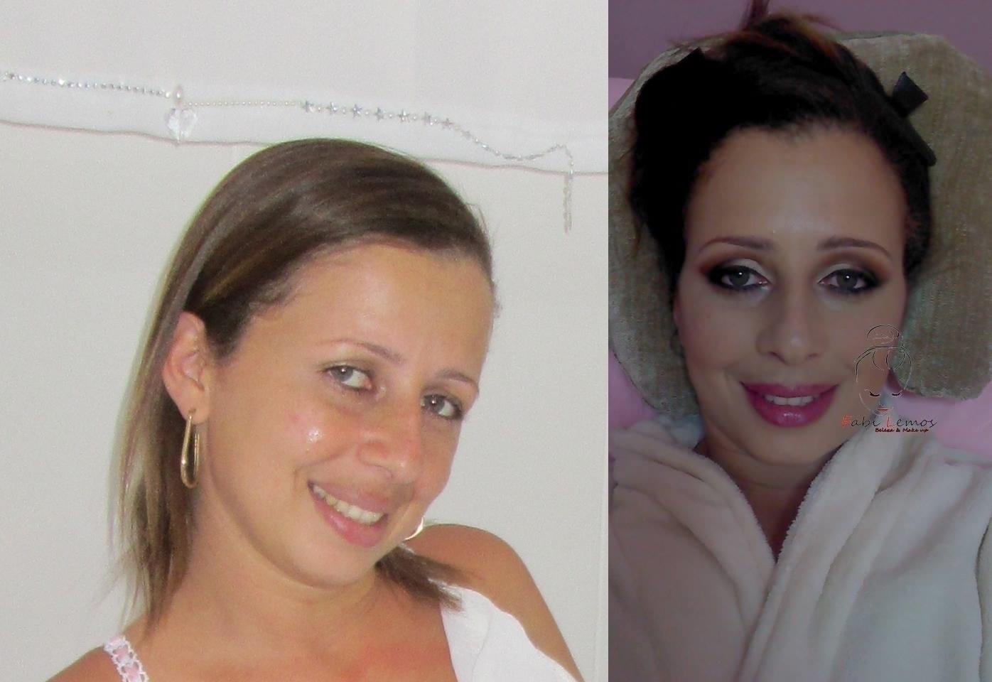 Antes e depois noiva Luana maquiador(a) docente / professor(a) designer de sobrancelhas manicure e pedicure esteticista