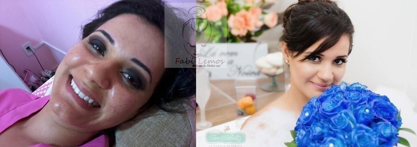Antes e depois noiva Dayane Foto lado esquerdo apenas com o olho começado. maquiador(a) docente / professor(a) designer de sobrancelhas manicure e pedicure esteticista