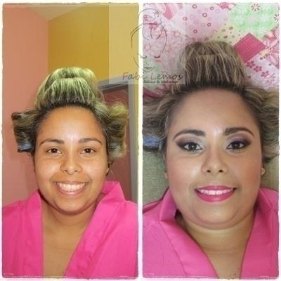 Antes e depois noiva Rayane. maquiador(a) docente / professor(a) designer de sobrancelhas manicure e pedicure esteticista
