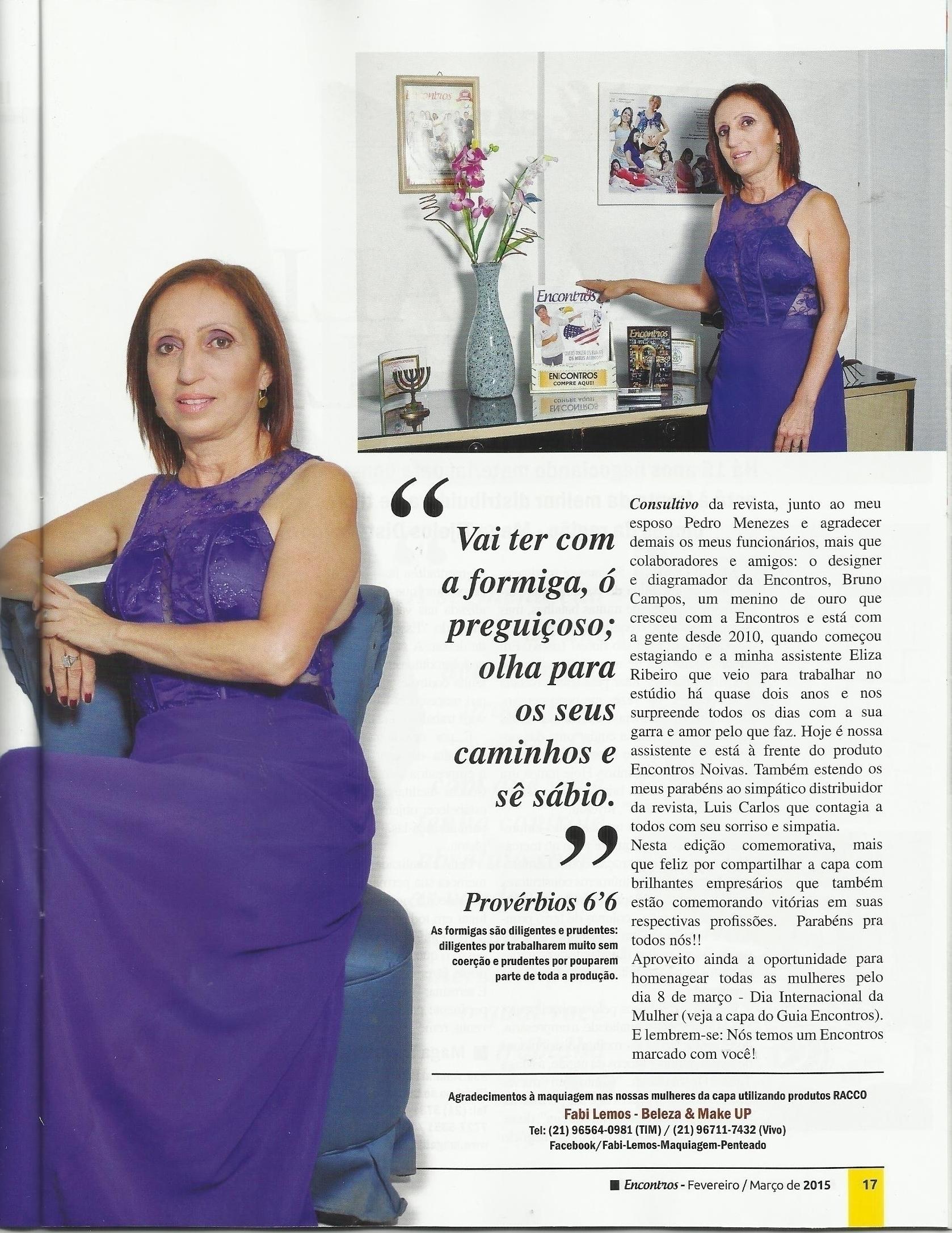Trabalho Trabalho de maquiagem na Revista Encontros de Maricá. maquiador(a) docente / professor(a) designer de sobrancelhas manicure e pedicure esteticista