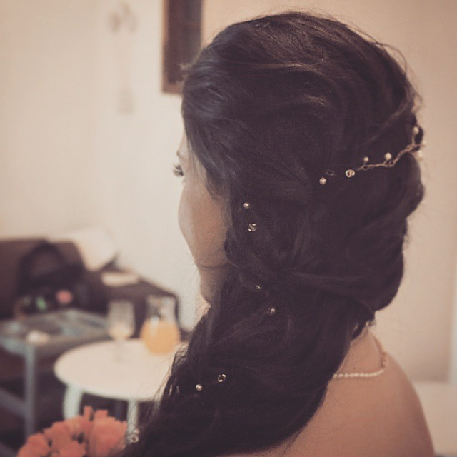 Noiva Cabelo Entrelaçado com Pérolas cabelo maquiador(a)
