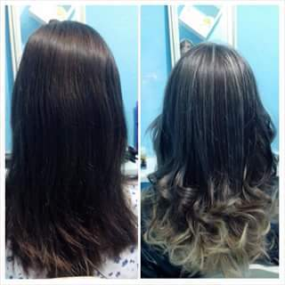 Ombré Descoloração touca + eriçadas tonalizado com corretores e matizado com creme  roxo.  cabeleireiro(a) auxiliar cabeleireiro(a)