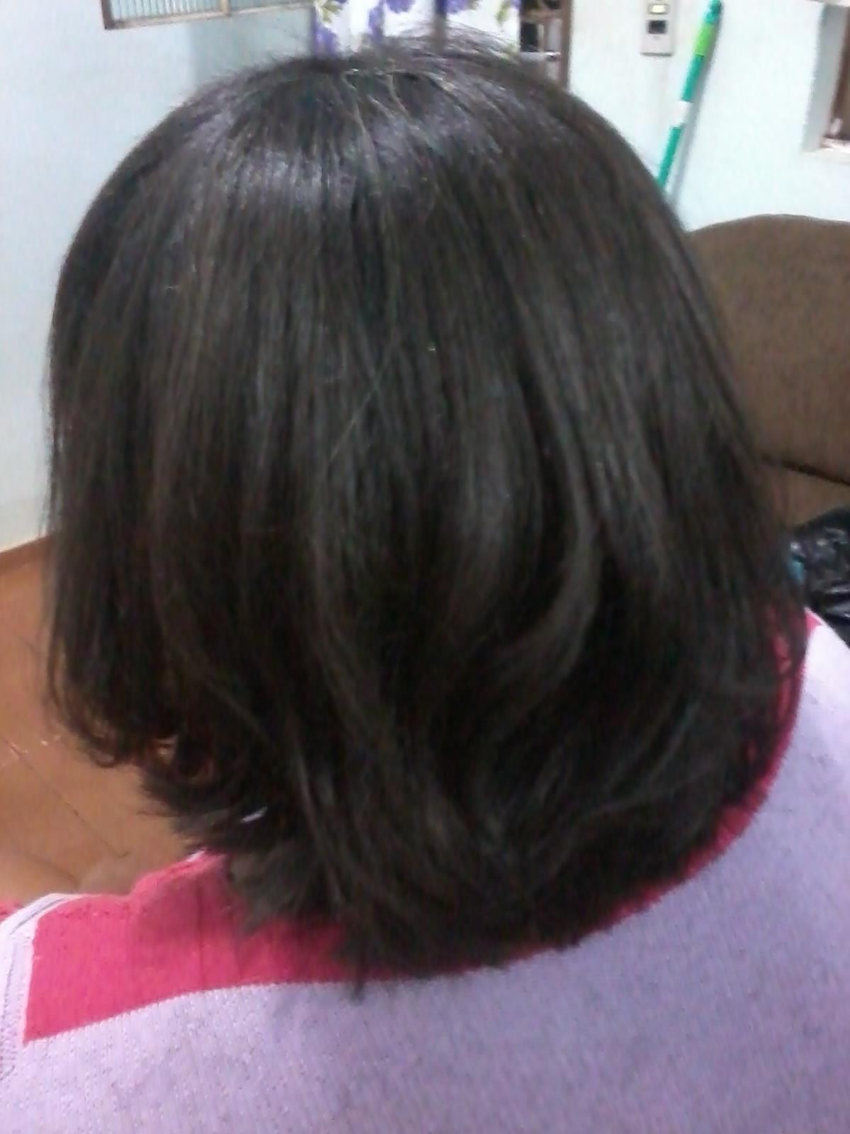 depois tratamento com relaxamento,cauterização e alizamento. cabeleireiro(a)