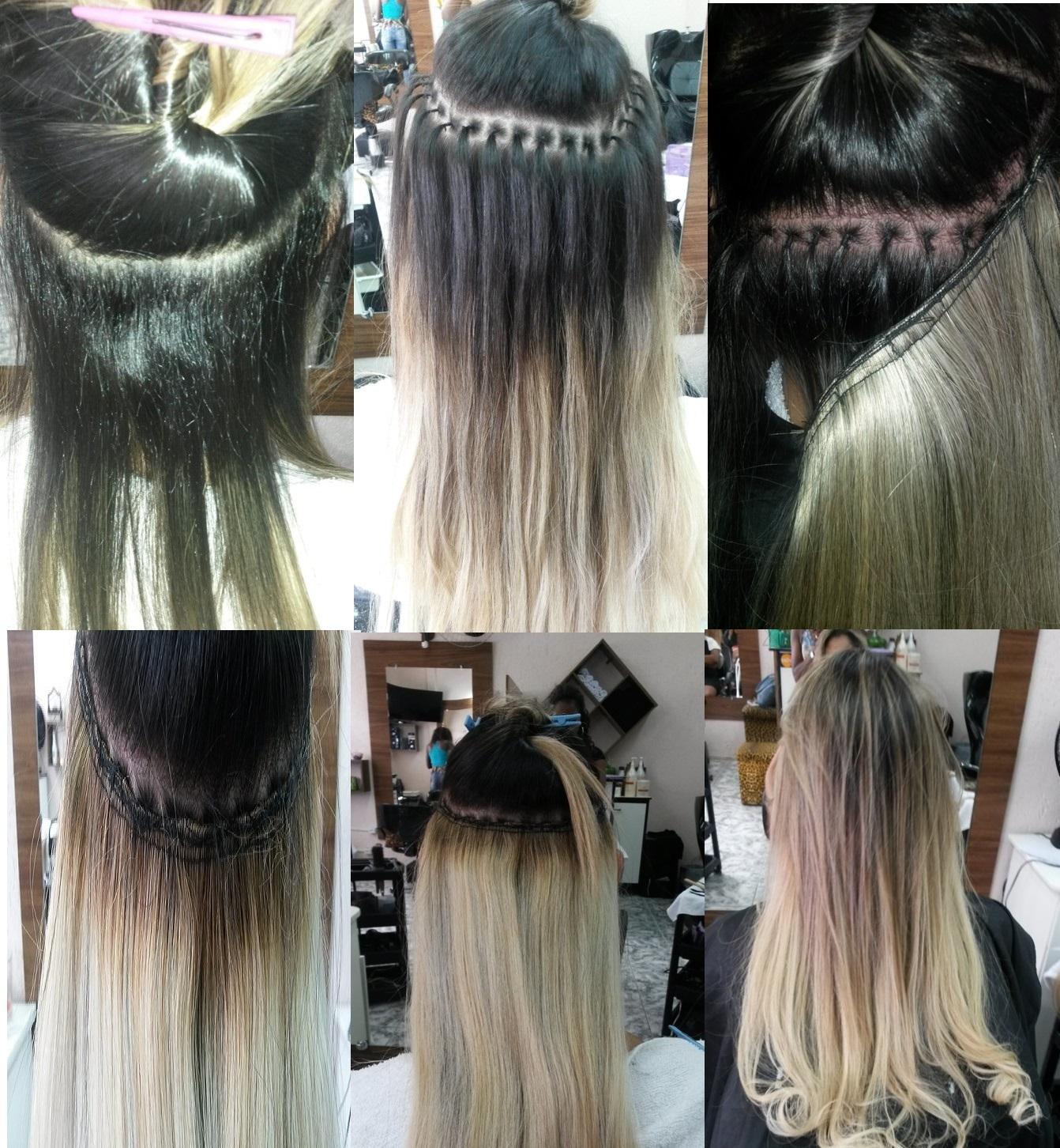 Alongamento Ponto Invisivel ou Americano Alongamento feito a partir de pontos presos a raiz do cabelo com lastex e apos costurado a tela do cabelo finalizando o alongamento com duração de 60 a 90 dias. cabeleireiro(a)