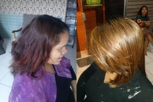 mudando o visual  mudei o fundo e fiz luzes. cabeleireiro(a)