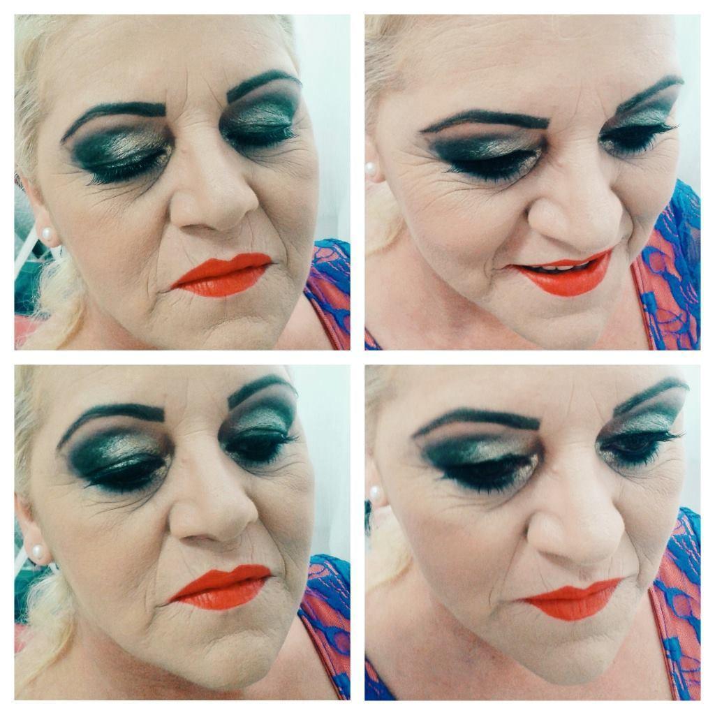Maquiagem marcada para pele madura, escolhida pela cliente. maquiador(a)
