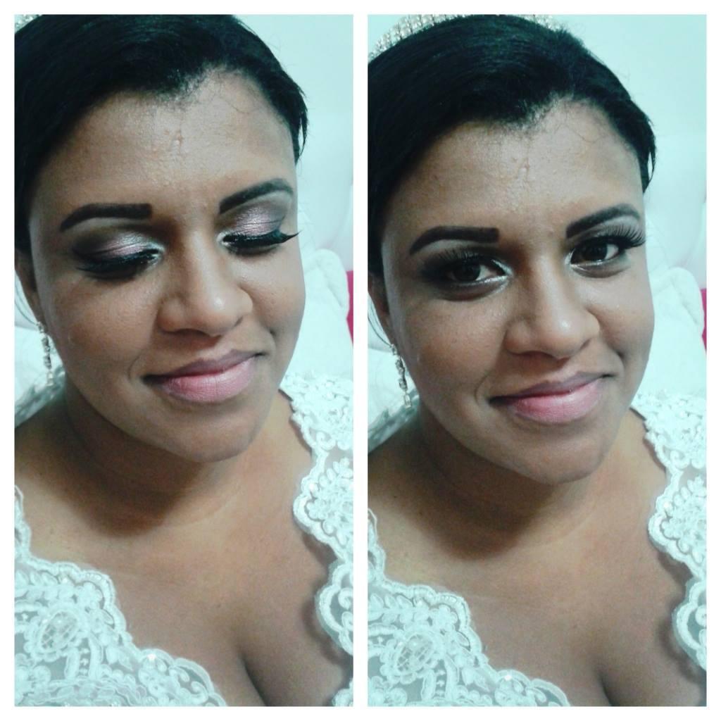 Maquiagem delicada para noiva, sem aplicação do batom. maquiador(a)