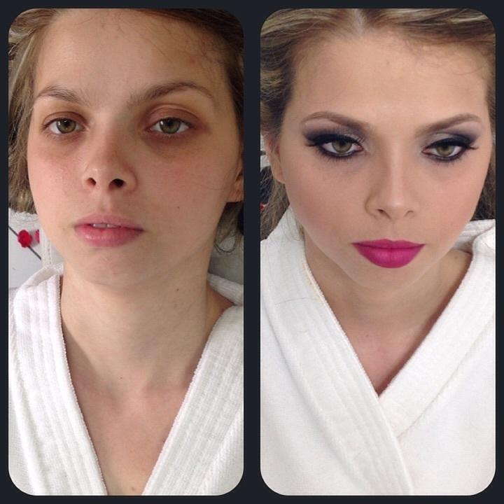 Antes e depois - Noiva maquiagem  maquiador(a) designer de sobrancelhas micropigmentador(a) assistente maquiador(a)