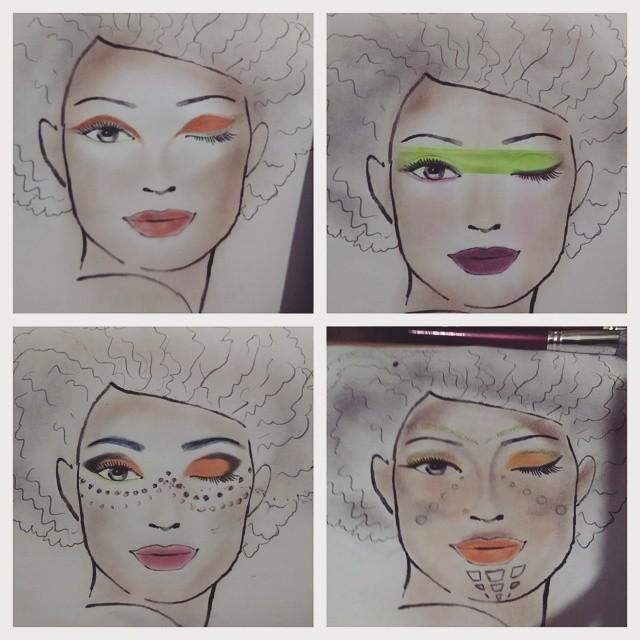 Croquis. Croquis elaborados para maquiagem de passarela. maquiador(a)