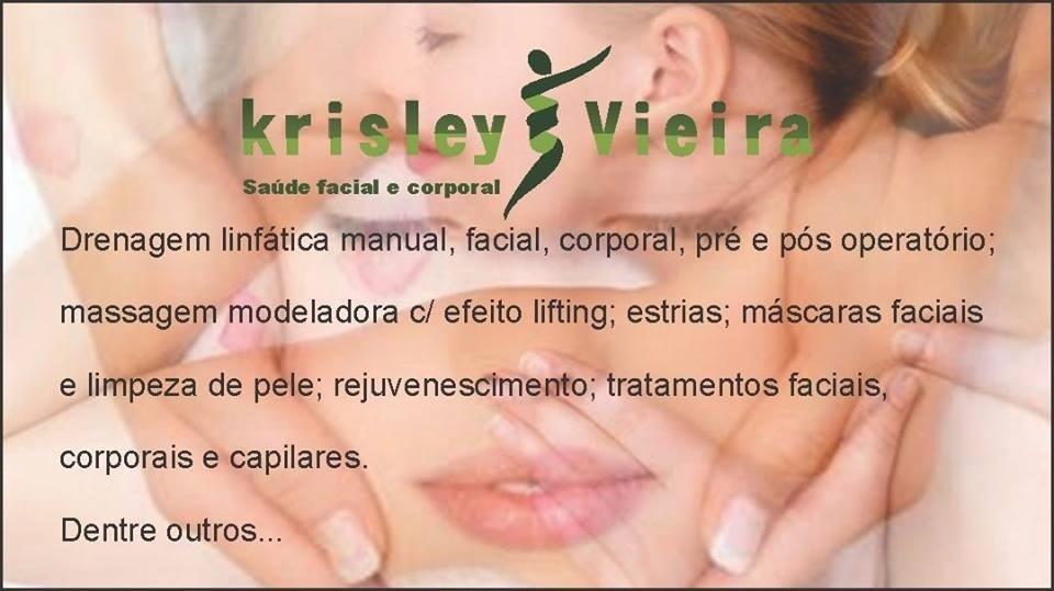 Krisley vieira saúde facial e corporal  Procedimentos especializados em fisioterapia dermato funcional. Área de dermatologia e estética.  fisioterapeuta