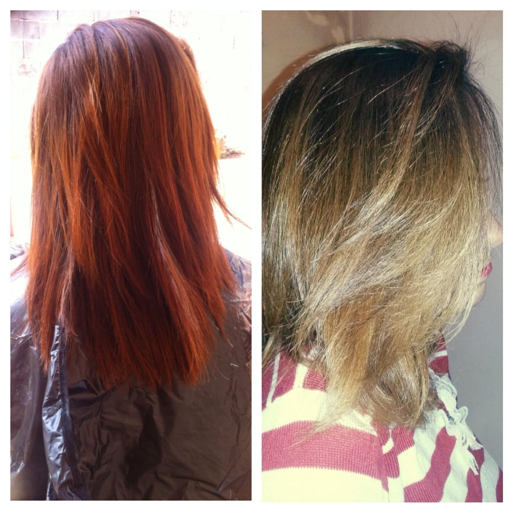 correção de cor e ombre hair Tirando o vermelho 🙆👌 stylist / visagista