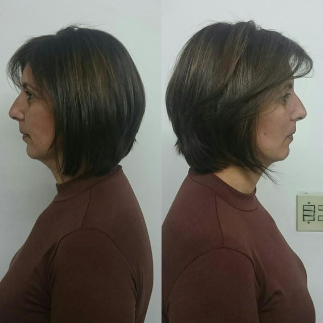 Chanel de bico com nuca repicada e coloração chocolate. visagista cabeleireiro(a) outros auxiliar cabeleireiro(a)