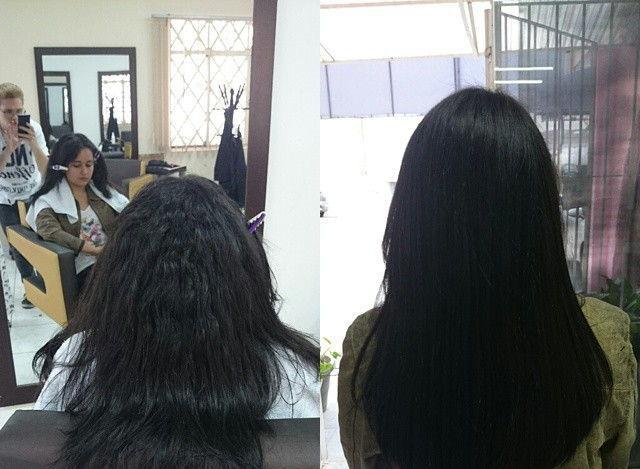 Realinhamento de fios com escova lisa. visagista cabeleireiro(a) outros auxiliar cabeleireiro(a)