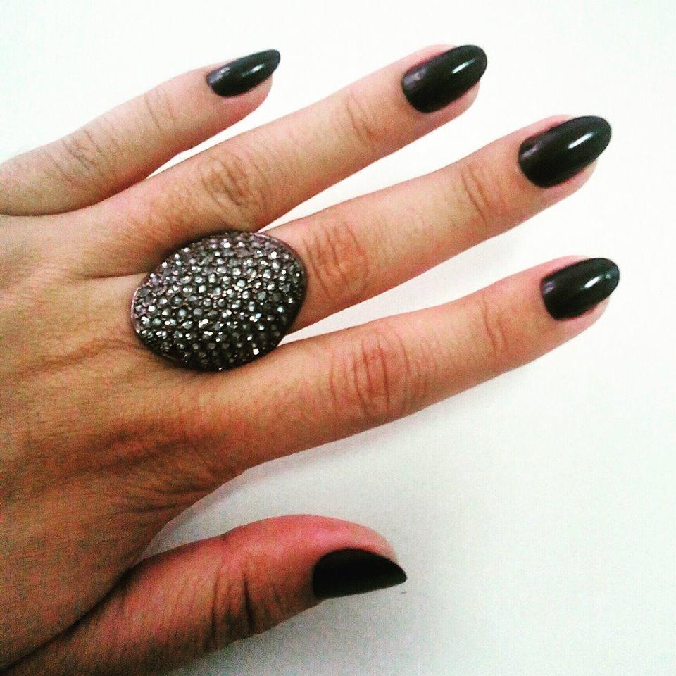 stiletto preto simples cremoso elegante unhas  manicure e pedicure