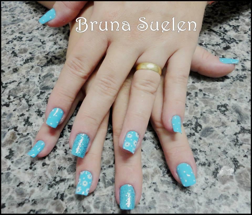 azul delicado, bolinhas, flores, ideias unhas  manicure e pedicure outros