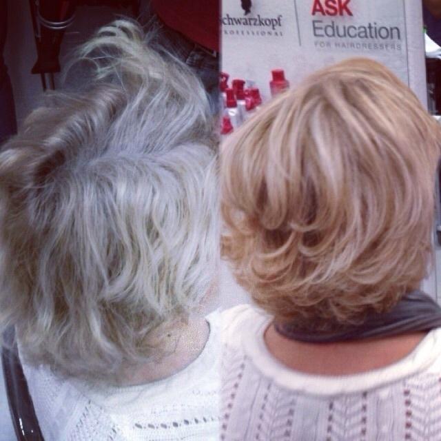 Correção de cor, com mechas. jovial, degrade, ombre hair curto, mechas cabelo  cabeleireiro(a)