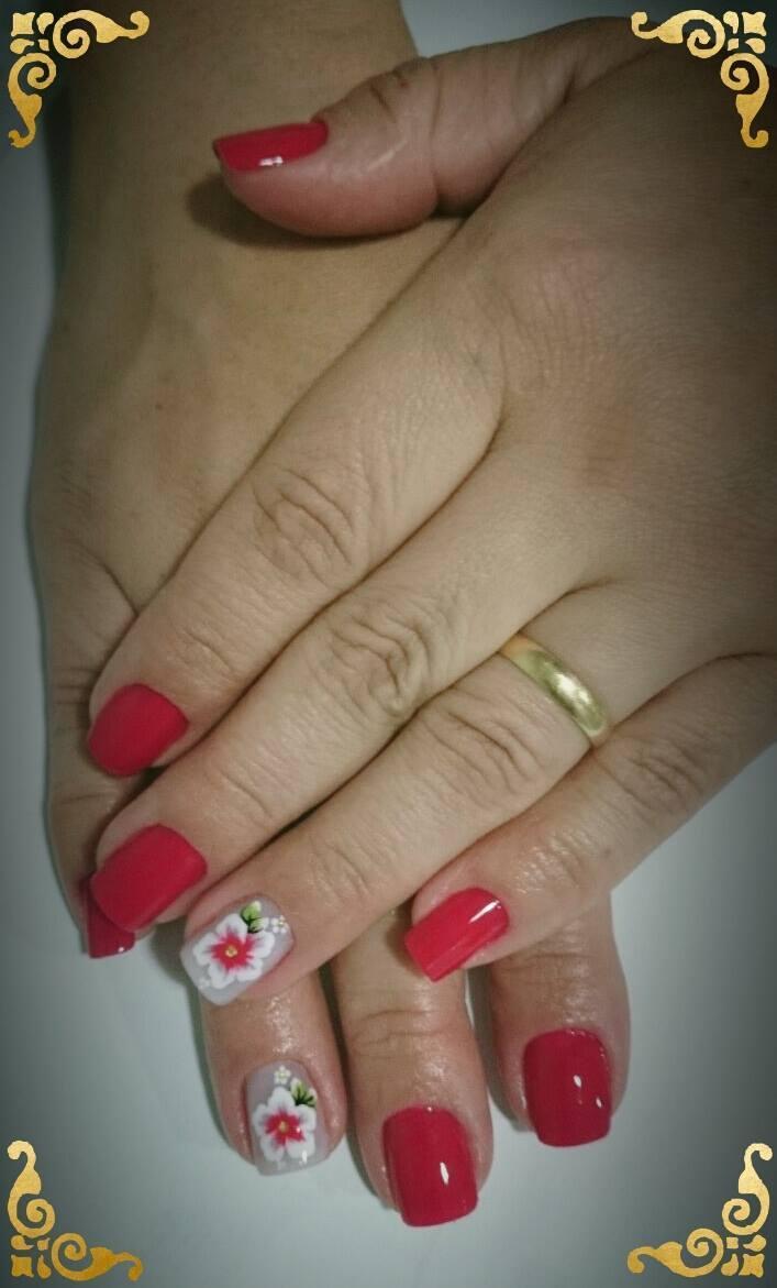 flores, vermelho, dia-a-dia unhas  maquiador(a) depilador(a)
