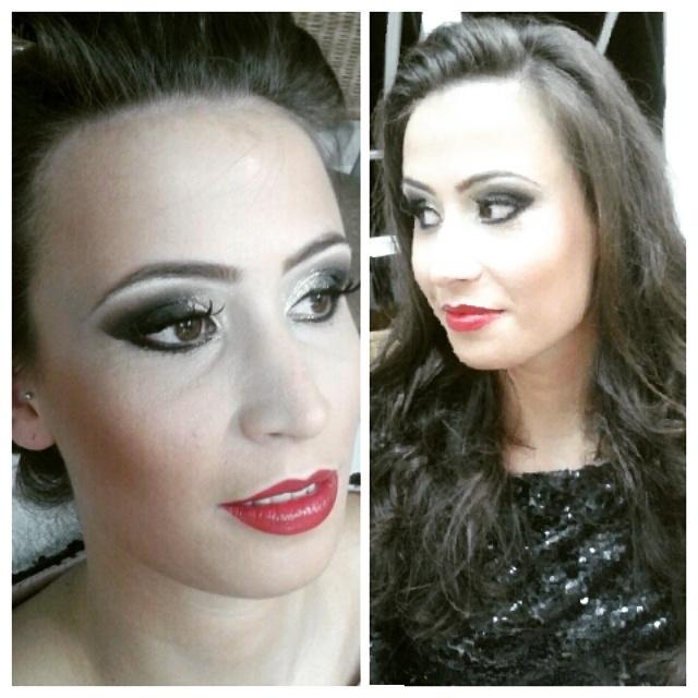 penteado e maquiagem make, festa, noite, escura maquiagem  cabeleireiro(a)
