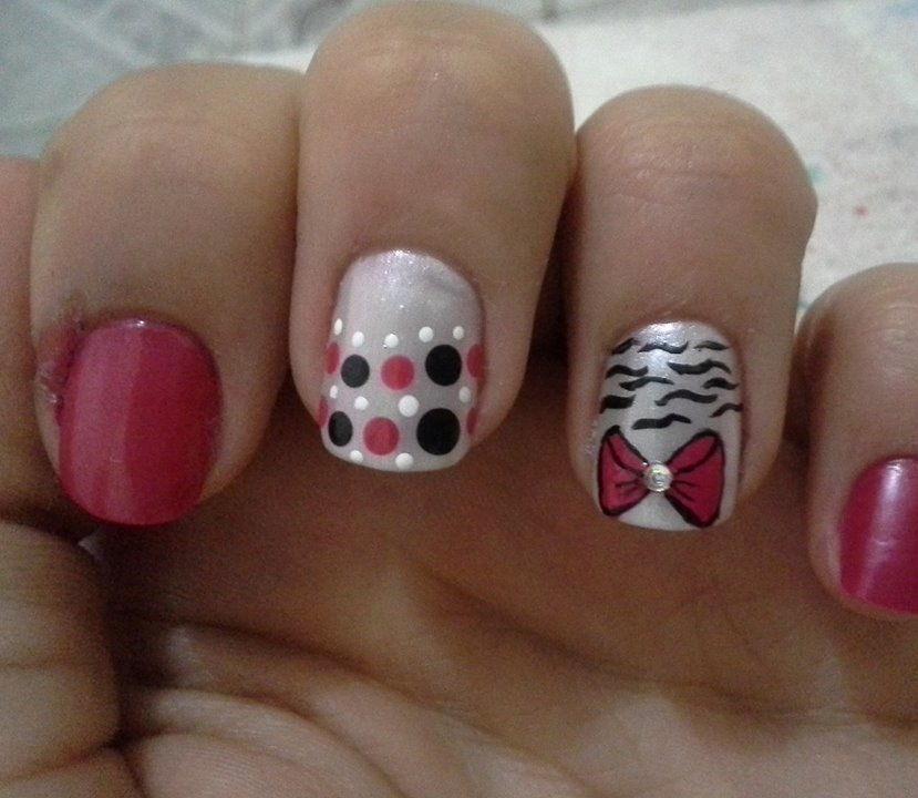 ideias, lacinho, bolinhas, dia-a-dia unhas  manicure e pedicure manicure e pedicure manicure e pedicure