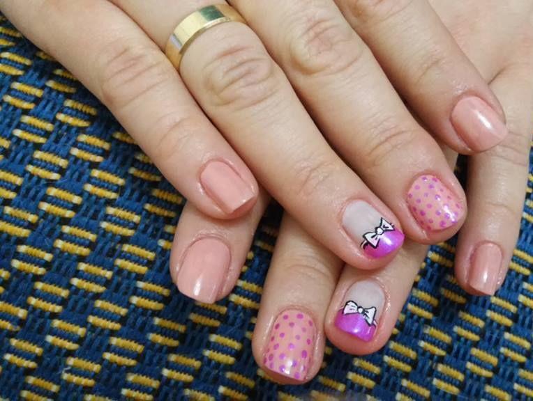 ideias, lacinho, bolinhas, dia-a-dia, rosa delicado unhas  manicure e pedicure manicure e pedicure manicure e pedicure