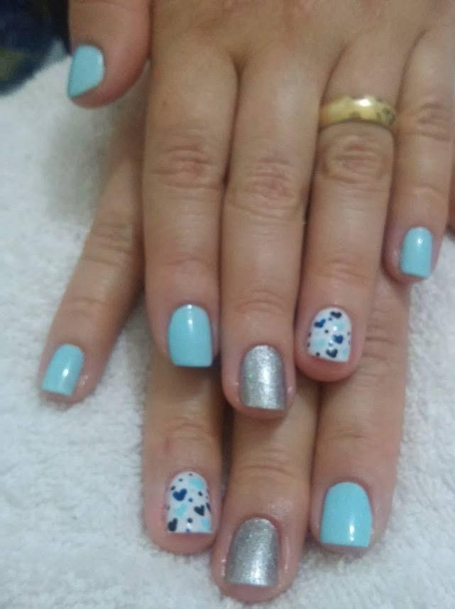 coração, azul bebê, prateado unhas  manicure e pedicure manicure e pedicure manicure e pedicure