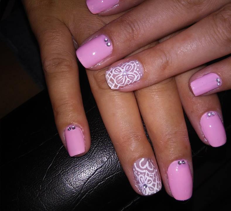 floral rosa, rosa delicado, pedrinhas, rosa bebê unhas  manicure e pedicure manicure e pedicure manicure e pedicure