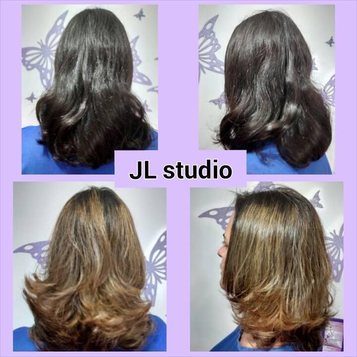 Luzes com efeito Ombré Hair  Neste caso não esfumamos a raiz com coloração  auxiliar cabeleireiro(a) maquiador(a) massoterapeuta