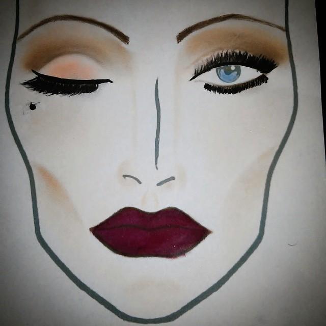 Face chart Inspiraçao anos 30 maquiador(a)