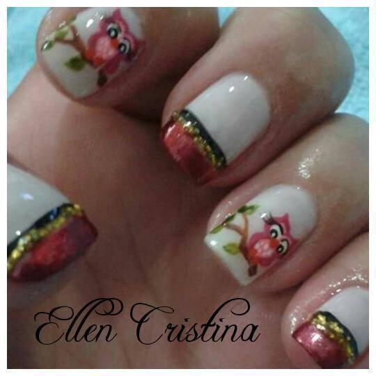 unhas de Ellen Cristina coruja, unha decorada, francesinha, desenho unhas  manicure e pedicure