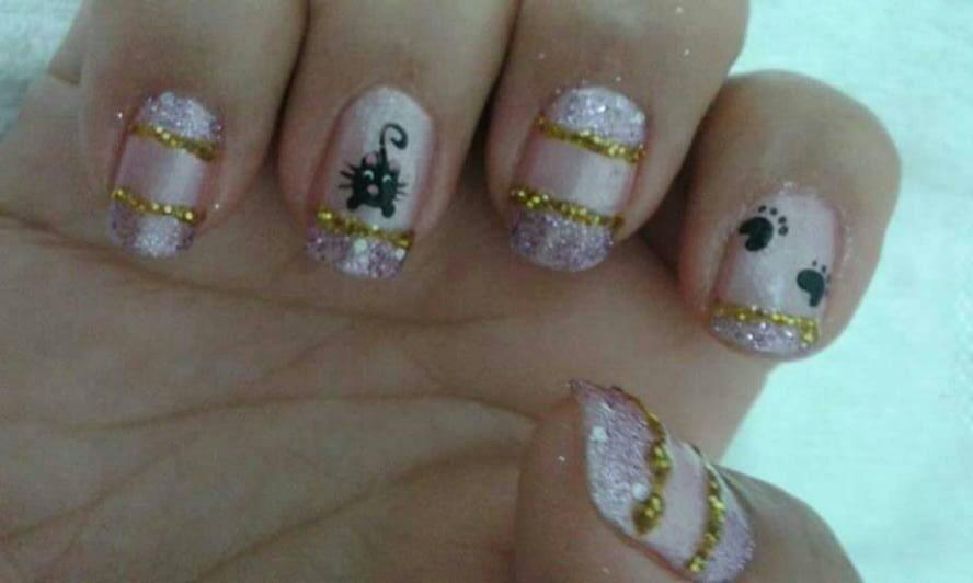 gatinho, decorada, patinhas, brilho unhas  manicure e pedicure