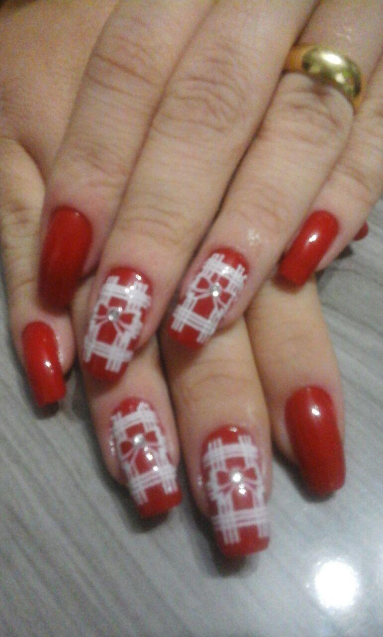 Jessica Manicure Pedicure vermelho, lacinho, dia-a-dia unhas  manicure e pedicure