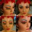 Maquiagem e caracterização de fadaCom pele preparada com efeito de luz e sombra, nos olhos é utilizado cute crase, cílios de plumas e batom pink