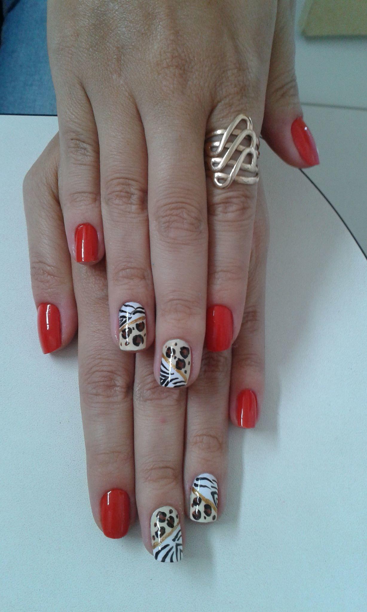 oncinha e zebra, vermelho cremoso, dia-a-dia unhas  manicure e pedicure manicure e pedicure