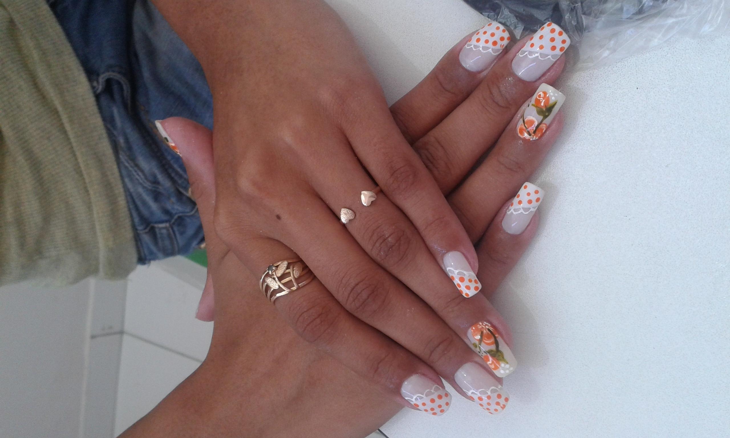 floral laranja, bolinhas, renda, festa, dia unhas  manicure e pedicure manicure e pedicure