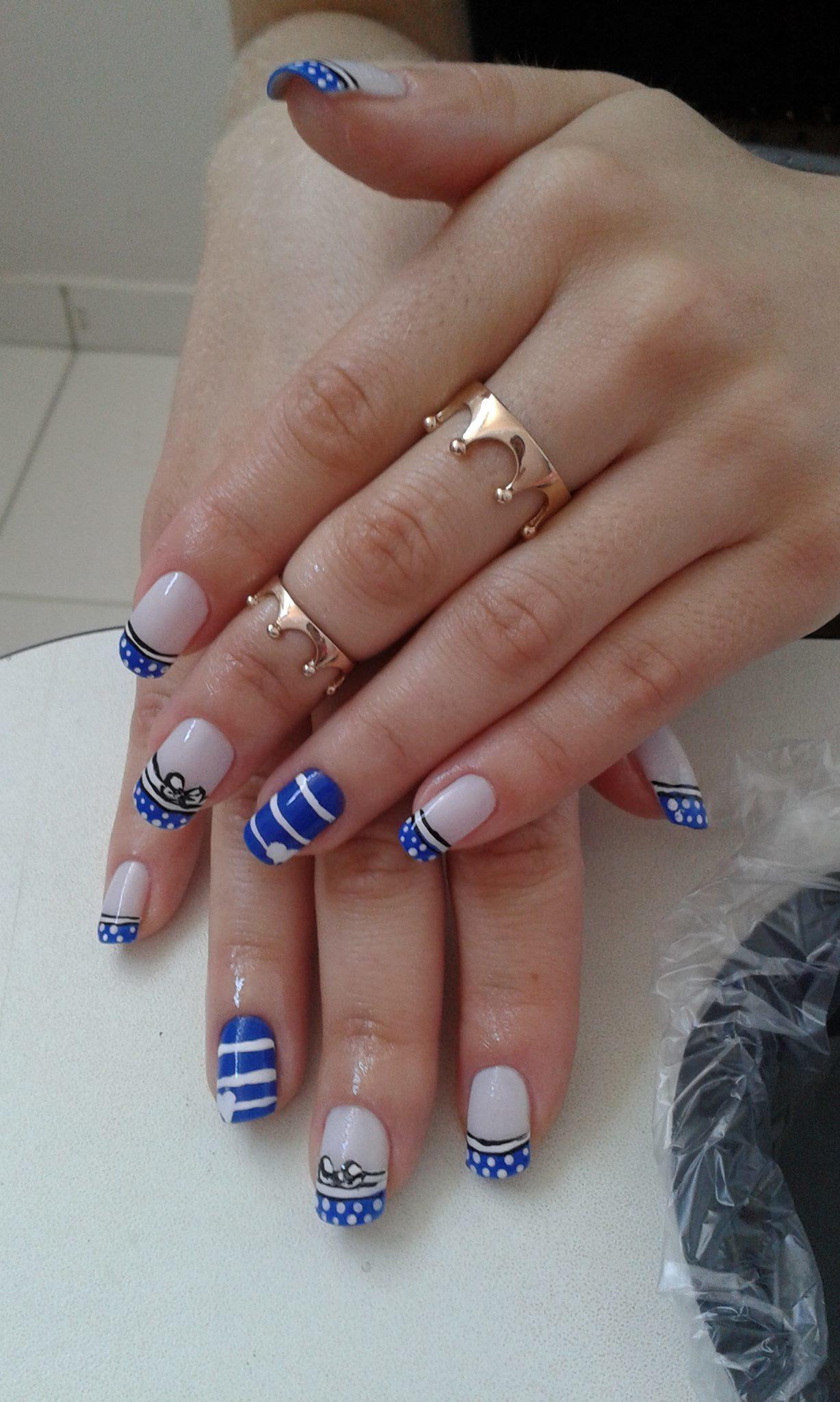 azul, lacinhos, linhas, coração, bolinhas unhas  manicure e pedicure manicure e pedicure
