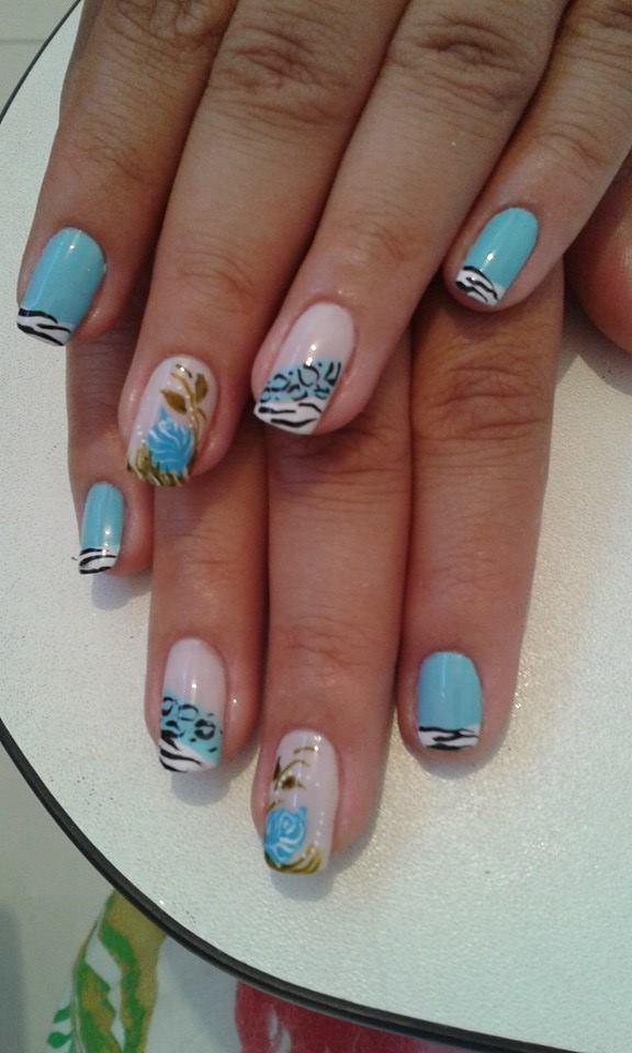 oncinha e zebra, flor, azul bebê, dia-a-dia unhas  manicure e pedicure manicure e pedicure