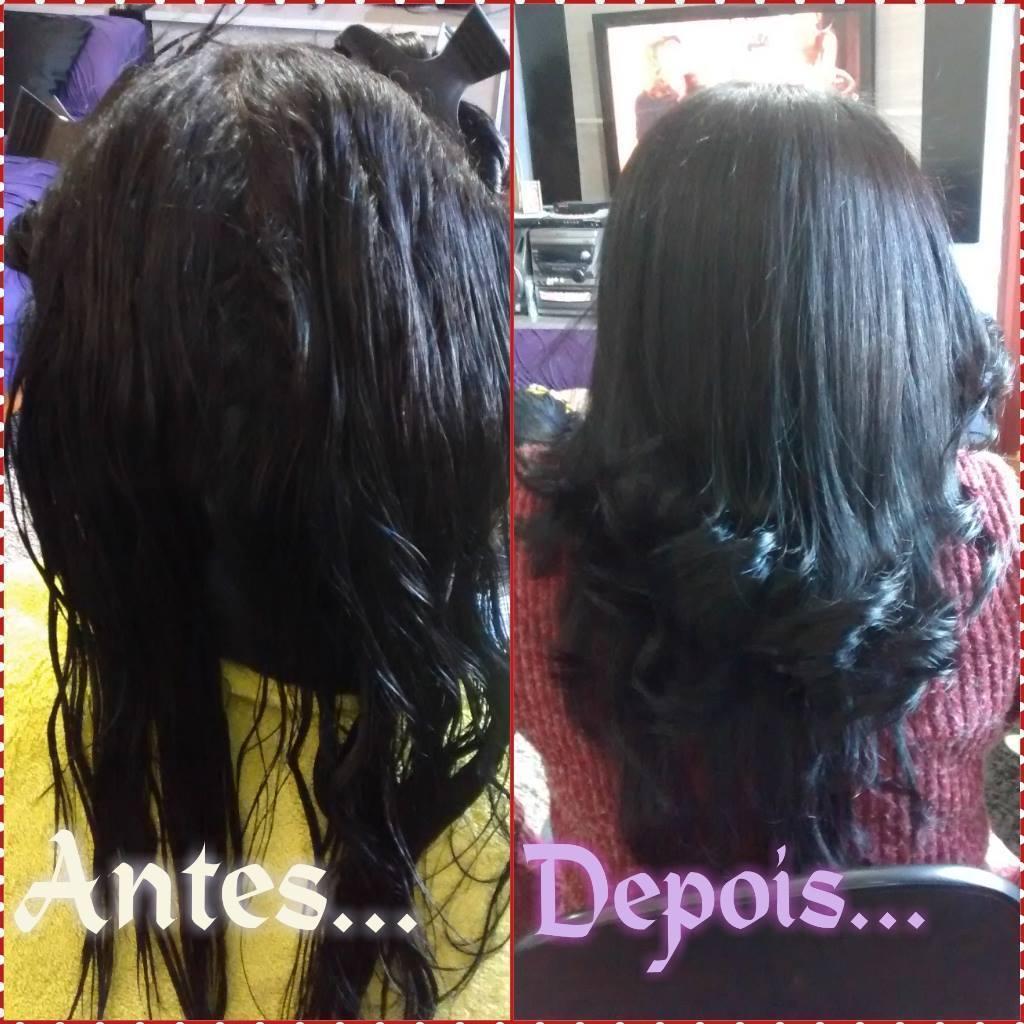 Escovação Lave,i escovei e finalizado com a prancha cabeleireiro(a)