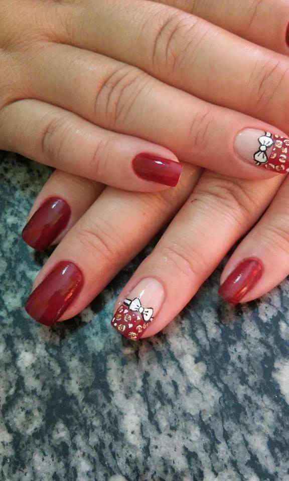 oncinha, decorada, vermelho cremoso, lacinho unhas  manicure e pedicure